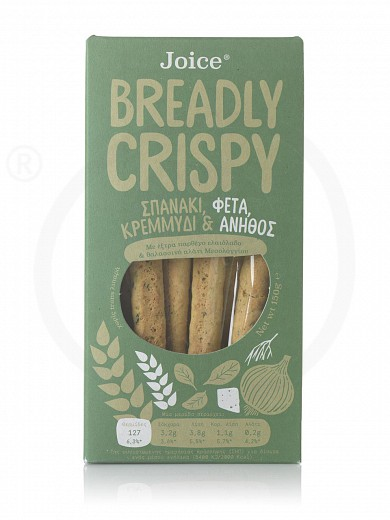 """Breadsticks with spinach, feta cheese, onion & dill, from Thessaloniki «Breadly Crispy» """"Joice Foods"""" 150g"""
