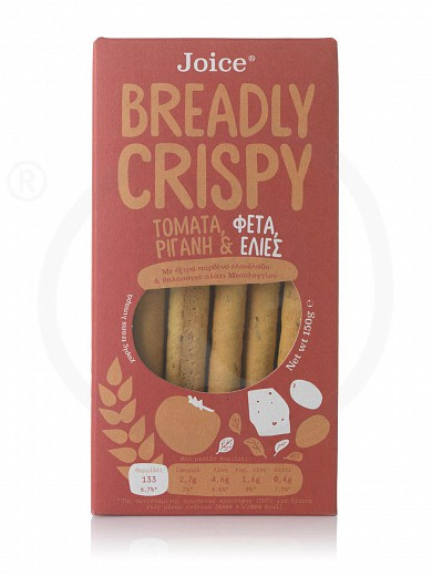 """Breadsticks with tomato, feta cheese, olives & oregano «Breadly Crispy» from Thessaloniki """"Joice Foods"""" 150g"""