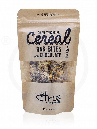 "Chian tangerine cereal bar bites with chocolate, from Chios ""Citrus"" 70g"