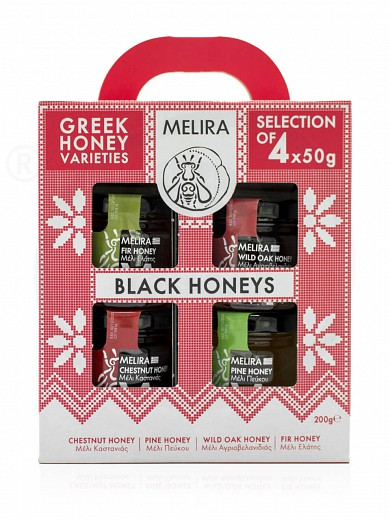 "Gift set «Black Honeys» with honey varieties, from Evia ""Melira"" 4x50g"