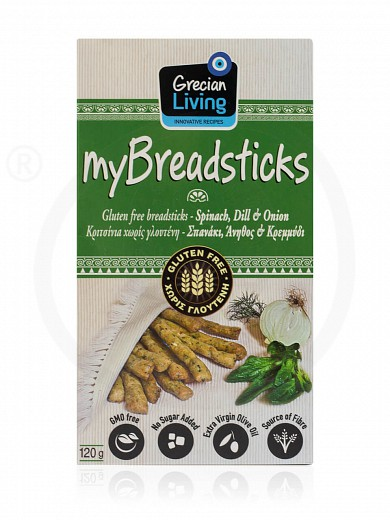 """Gluten-Free breadsticks with spinach, dill & onion, from Attica """"Grecian Living"""" 120g"""