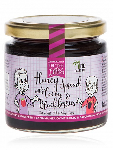 "Gluten & sugar-free honey spread with cacao & blackberries, from Evia «The Bee Bros» ""Stayia Farm"" 300g"