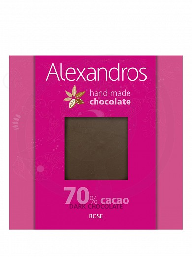 "Handmade dark chocolate with rose, from Attica ""Alexandros"" 90g"