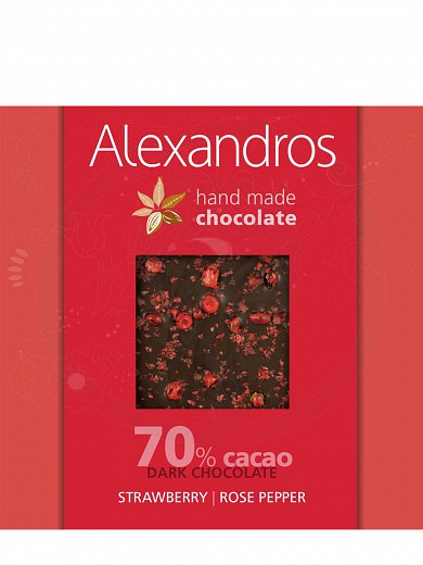 "Handmade dark chocolate with rose pepper & strawberry from Attica ""Alexandros"" 90g"