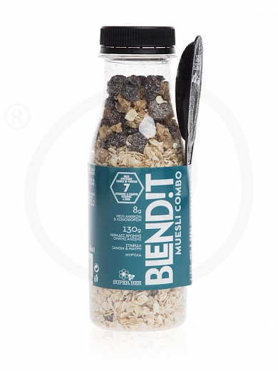 "Muesli Combo with wholewheat oats, honey, raisins & blueberries «Blend!t» from Evia ""Super Bee"" 130g"