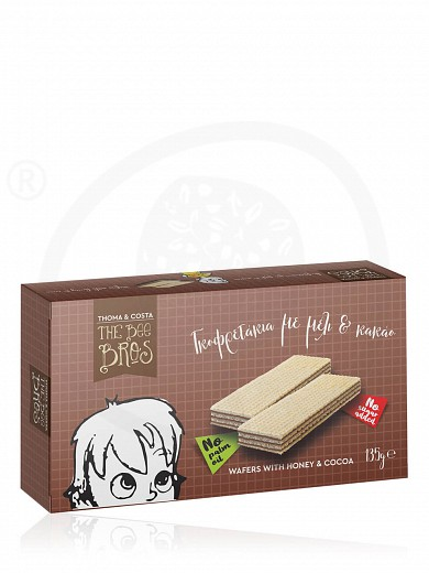 """No added sugar & palm oil wafers with honey & cocoa, from Evia «The Bee Bros» """"Stayia Farm"""" 135g"""