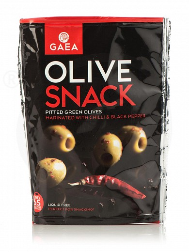 "Pitted green olives marinated with chilli & black pepper from Chalkidiki ""Gaea"" 65g"