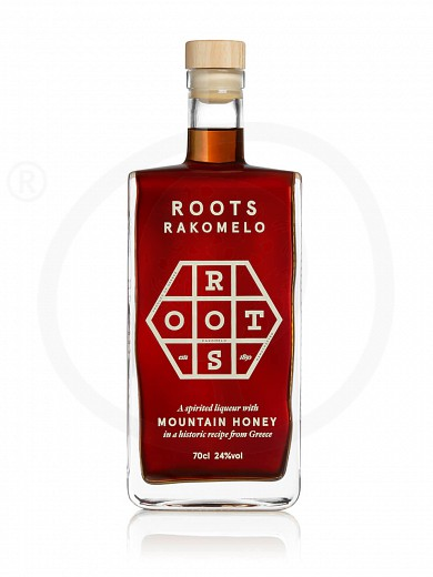 """Traditional liqueur «Rakomelo» with mountain honey from Attica """"Roots"""" 700ml"""