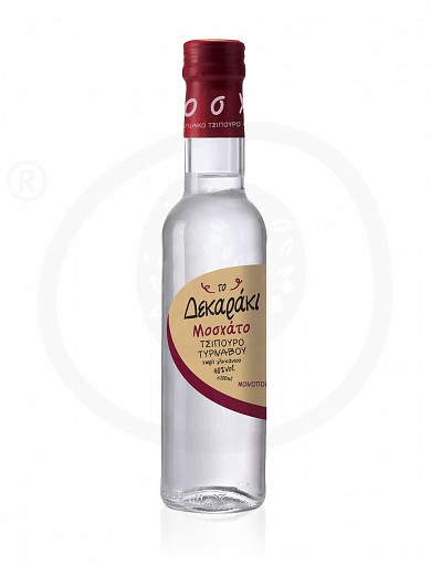"""Tsipouro (grape distillate) from Tirnavos Moschato without aniseed """"To Dekaraki"""" 200ml"""