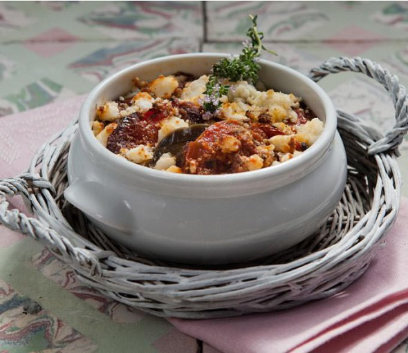 Aubergines with potatoes in tomato sauce