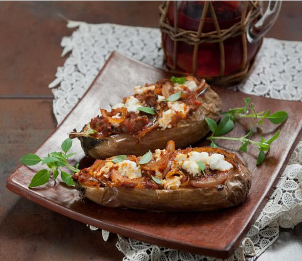 Tsakonian oven aubergines with feta cheese