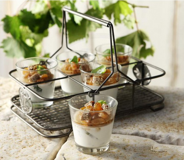 Yogurt mousse with grape spoon sweet and fig nougat with honey