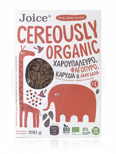 "Cereals with carob flour & buckwheat, walnuts & almonds, from Thessaloniki «Cereously Organic» ""Joice Foods"" 350g"