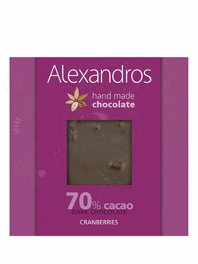 "Handmade dark chocolate with cranberries, from Attica ""Alexandros"" 90g"