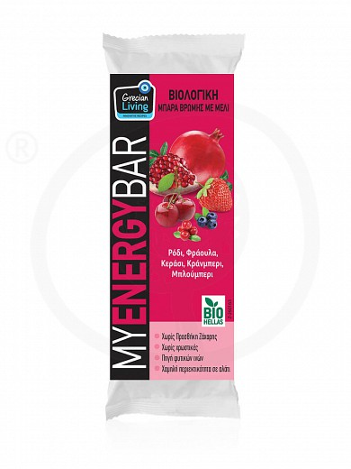 """Organic oat bar with cherry, strawberry, pomegranate, cranberry & blueberry """"Grecian Living"""" 40g"""