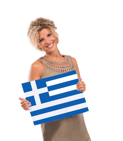 Holding Greek Flag